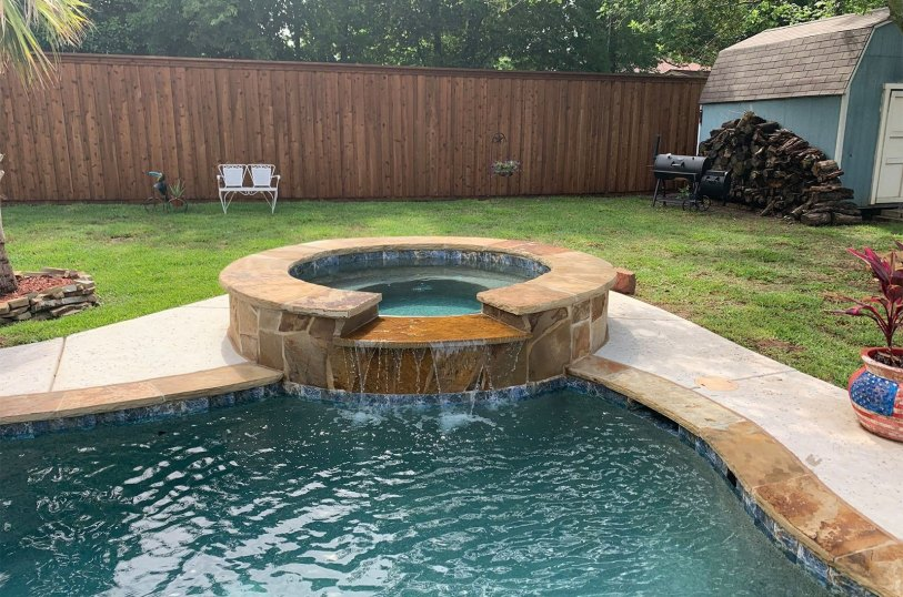 Waterfall Installation with custom pool and hot tub